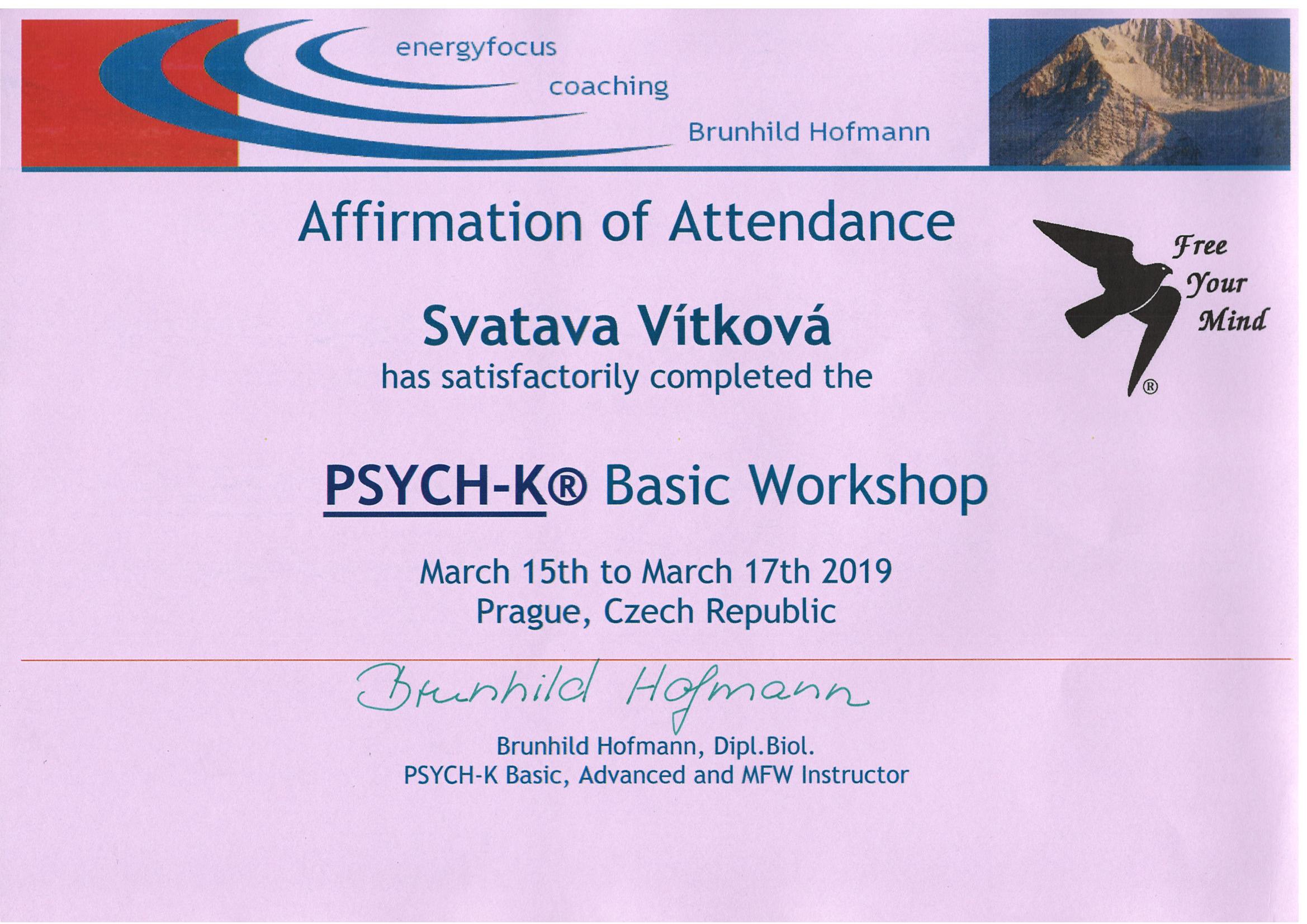 Psych-K certifikát